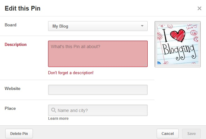 Pin description should include keywords for SEO Pinterest strategy